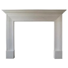 English Style White Marble Fireplace Mantle