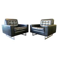 Pair of De Sede Black Leather Armchairs
