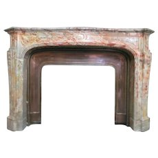 18th Century, French Louis XV Style Marble Fireplace Mantle