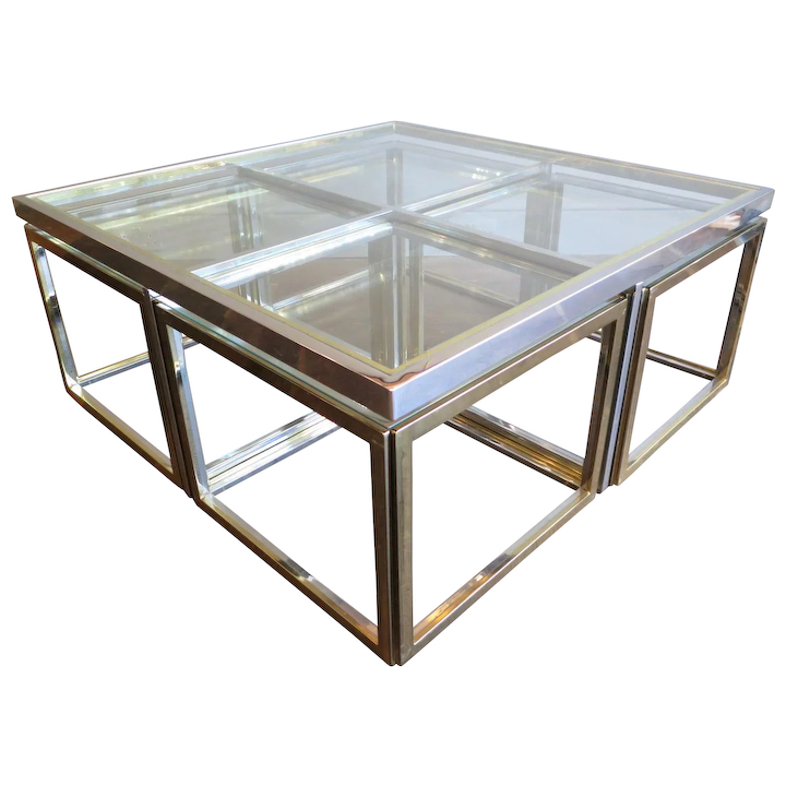 Large Square Coffee Table In Brass And Chrome By Jean Charles