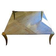 Large Rare Peter Ghyzcy Brass and Glass Coffee Table
