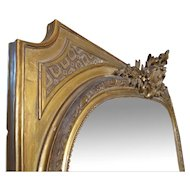 Very Large French Gold Gilt Overmantel Mirror