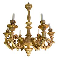 Antique carved and gilt wood chandelier