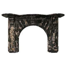 An Antique Portoro Marble Arched Irish Fireplace Mantel
