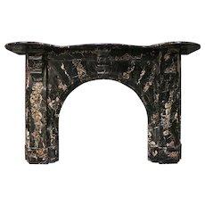 An Antique Portoro Marble Arched Irish Fireplace Mantel