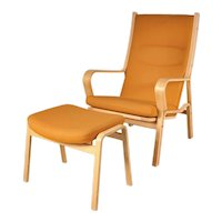 Highback Easy Chair with Ottoman by Hans J. Wegner, circa 1980