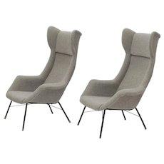 Set of 2 Wingback Easy Chairs by Miroslav Navratil for Cesky Nabytek, circa 1950