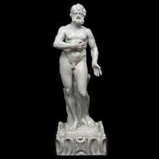 "18th century Portuguese glazed faience statue ""Jupiter - Zeus"""