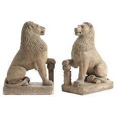 Pair of 19th century stone lions