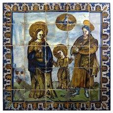 17th century Portuguese azulejos mural