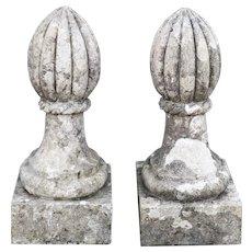 19th century pair of stone pinnacles