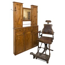 Barbershop cabinet with mirror