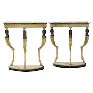 A Pair of Swedish Demilune Console Tables