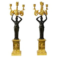A Pair of Empire Gilt Bronze and Patinated Candelabra