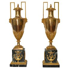 A Pair of Empire Gilt Bronze and Marble Vases, Paris, circa 1810