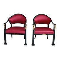 Pair Swedish Ebonized Empire Armchairs, Circa 1820