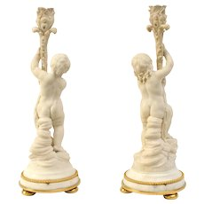 Pair Of  Louis XVI White Marble Candlesticks With Gilt Bronze Mounts, 18th Century