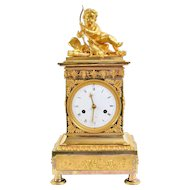 Empire Gilt Bronze Mantel Clock, Paris Early 19th Century
