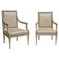 Pair of Crème Painted Gustavian Armchairs, Johan Lindgren, Stockholm