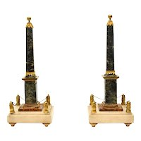 Pair of Louis XVI ormolu mounted marble obelisks