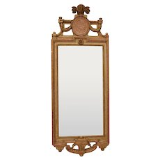 A Very fine Gustavian Giltwood Mirror signed Johan Åkerblad, Stockholm. Original condition.