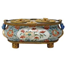 A Gilt Bronze Mounted Chinese 18th Century Inkstand