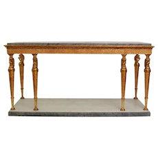 A Very Large Swedish Empire Gilt Wood Eight Leg Console Table With a Marble Top Atributed to Jonas Frisk