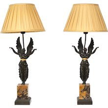A Pair of Empire Lamps, Marble and Patinated Bronze, Circa 1830,