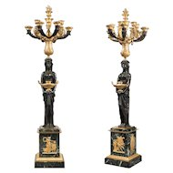 A Pair Of Very Large Patinated And Gilt-Bronze Candelabra Signed THOMIRE A PARIS