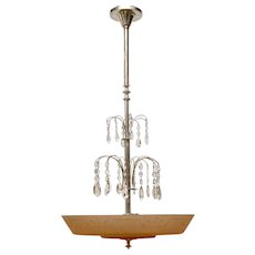 A Swedish Glass and Silvered Art Deco Ceiling Lamp, Circa 1930.