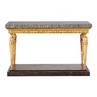 An Important Late Gustavian Giltwood Console Table With A Rare Porphyry Top