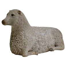 A Swedish Folk Art Sculpture Of A Wood Carved And Painted Sheep.