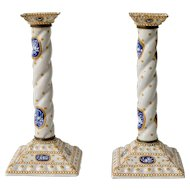 Pair of Enamel Decorated Candlesticks, 19th Century
