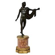A Patinated Bronze Sculpture Of Apollo With An Ormolu Mounted Marble Base.