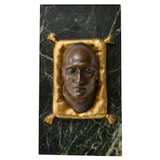 A Paper Weight With A Patinated Bronze Of Napoleons Death Mask On a Green Marble Base