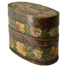A Swedish Country / Folkart Flower  Painted Wood Box. 19th century