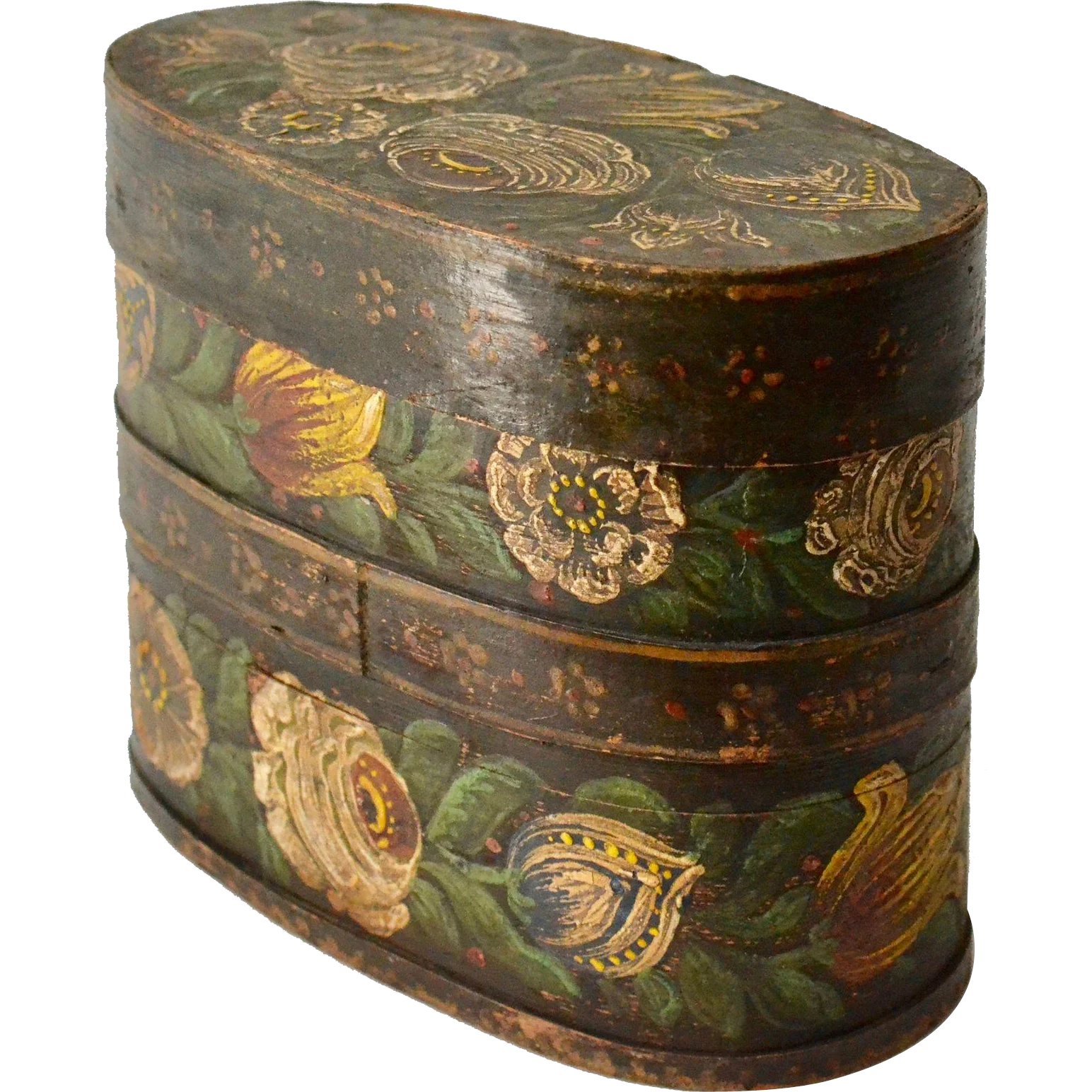 A Swedish Country / Folkart Flower Painted Wood Box  19th century