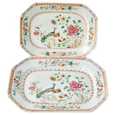 A Pair Of Chinese Double Peacock Famille Rose Plates. Qianlong Period