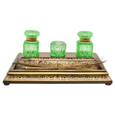 A Boulle Cut Brass Inlaid Inkstand, 19th Century