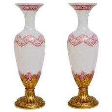 A Pair Of Painted Opalin Glass And Bronze Vases, Second Half Of 19th Century