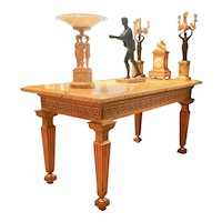 An Important Louis XVI Period Russian Giltwood Console or Center Table With A Marble Top