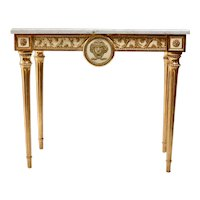 A Swedish Gustavian Giltwood Console Table, Marble top, 18th century