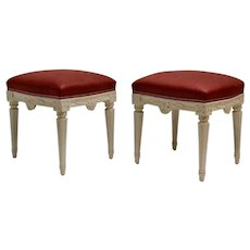 A Pair Of Swedish Gustavian Stools, 18th Century