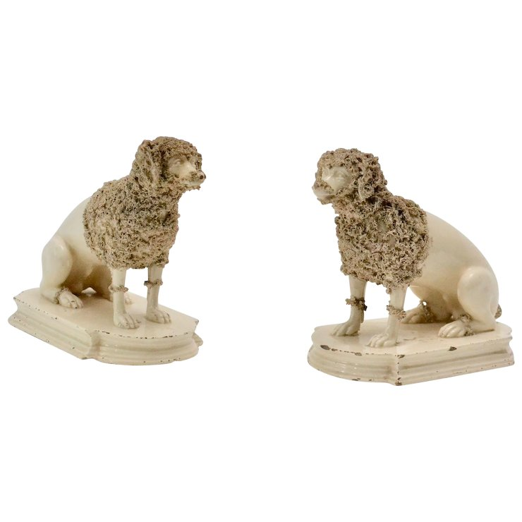 Pair Of Ceramics Poodles Probably England 19th Century Lundgrens Antiques
