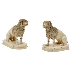 Pair of Ceramics Poodles, Probably England, 19th Century