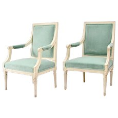 A Pair Of Swedish Gustavian Armchairs Signed Johan Lindgren