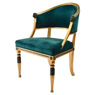 "A Swedish Gustavian Giltwood ""Tub"" Armchair Attributed To Ephraim Stahl."