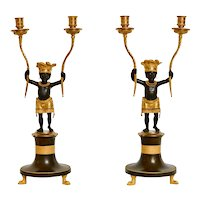 Pair of Directoire à L´Amerique Ormolu and Patinated Bronze Candelabra After a Design By Jean-Simon Deverberie