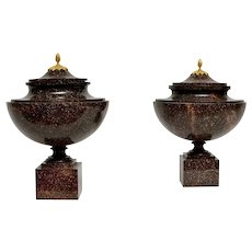 "A Pair of Gustavian ""Blyberg"" Porphyry Urns With Ormolu Mounted Porphyry Lids, Early 19th Century"