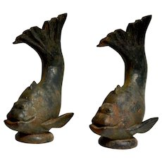 Pair of Cast-Iron Garden Fountain Fish Sculptures, Sweden 1930´s